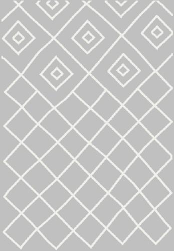 Dywan Shaggy Eco Komfort Mila 120x170 Szary Biały Romby Krata