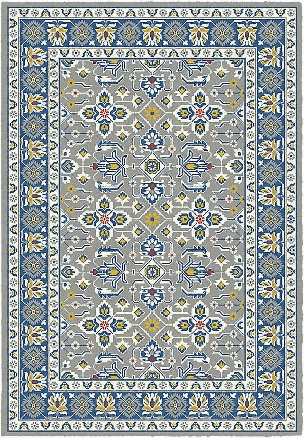 Dywan 160x230 Komfort Valery Szary żółty Niebieski Czerwony Ornament